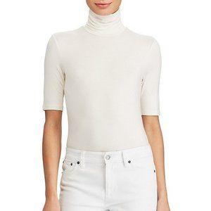 Ralph Lauren Plus Knit White Jersey Turtleneck Top
